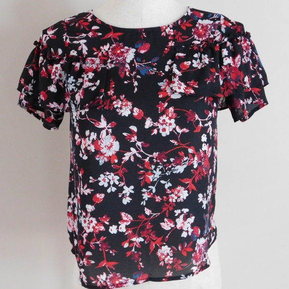 Floral Print Blouse with Ruffles & Zipper